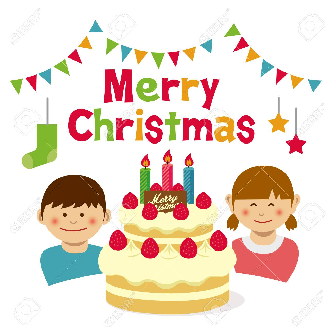 Merry Christmas Birthday Cake And Kids Illustration