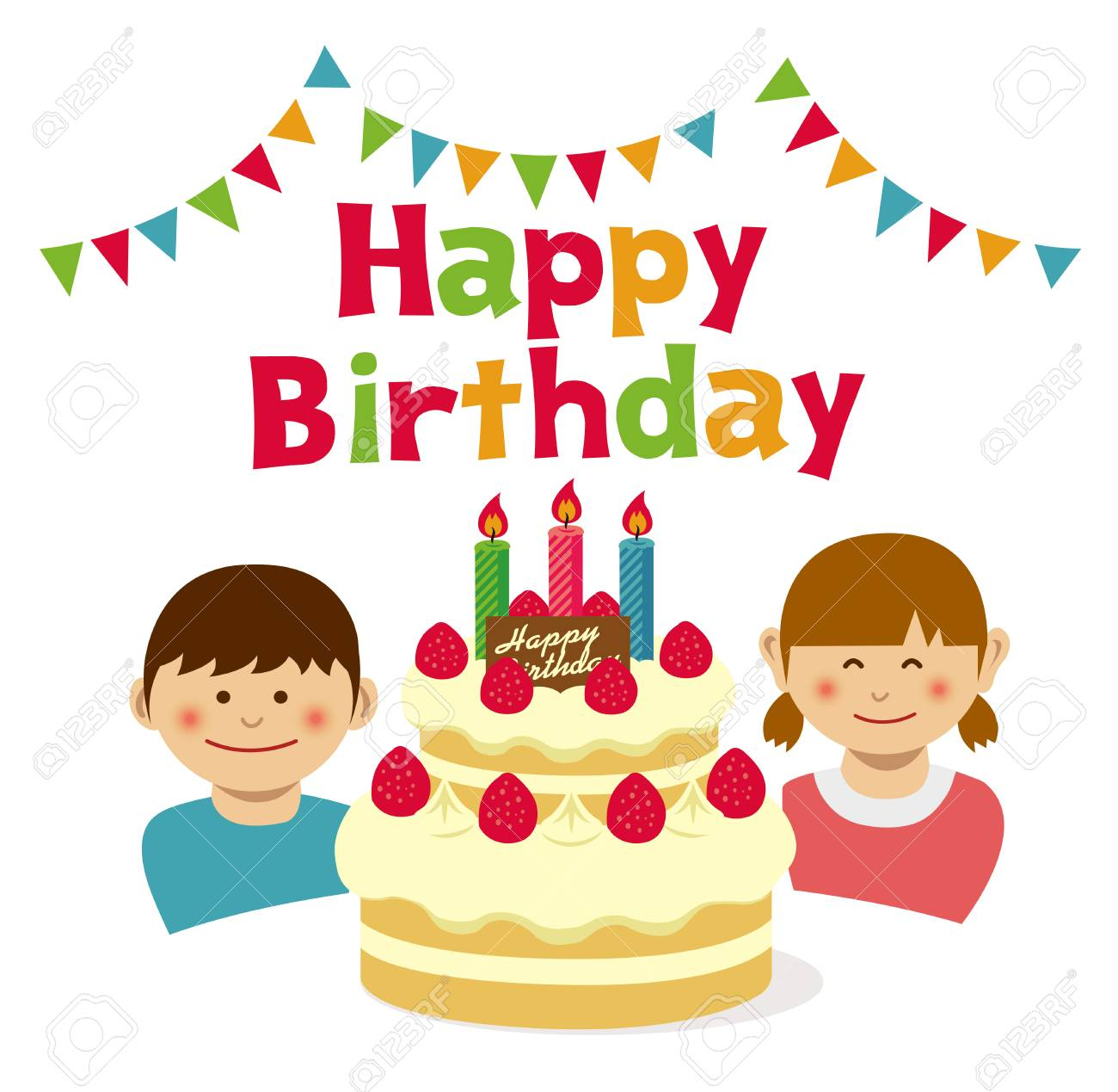 Happy Birthday Cake And Kids Illustration Stock Vector