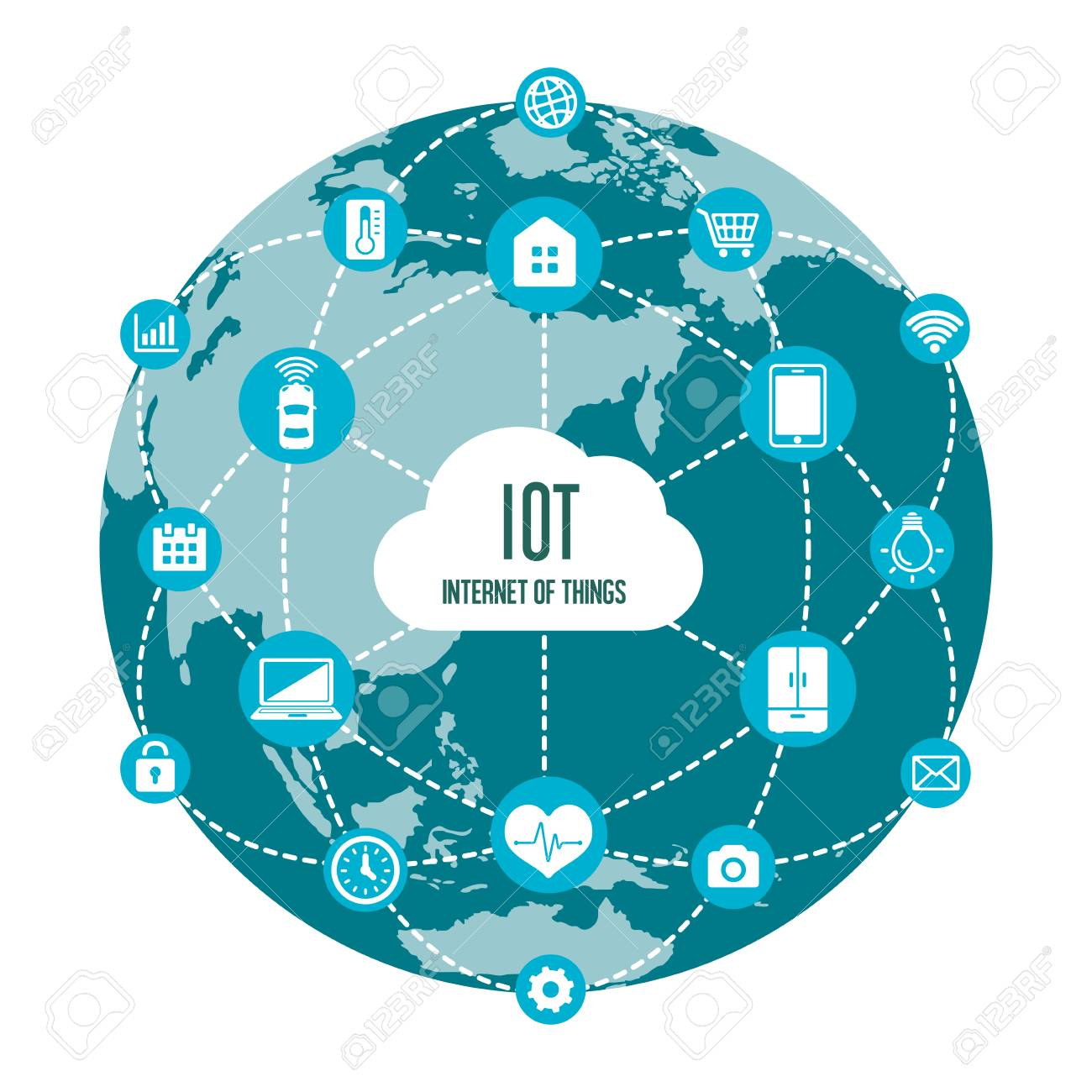 IoT (internet of things) image illustration / earth (blue) - 92576178