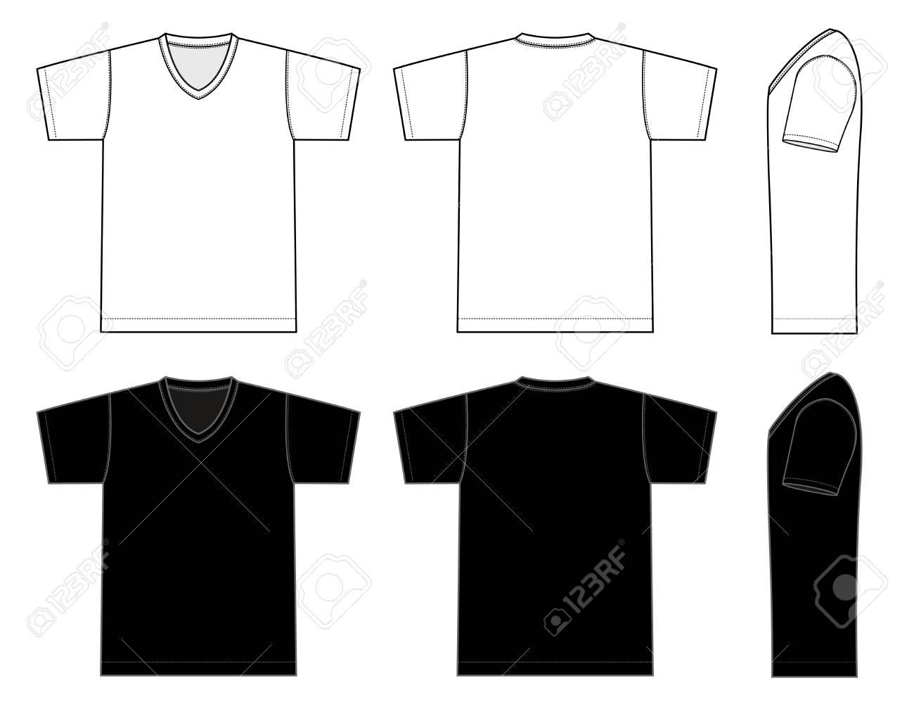 V neck t-shirt template Vector illustration in black and white. - 98264572