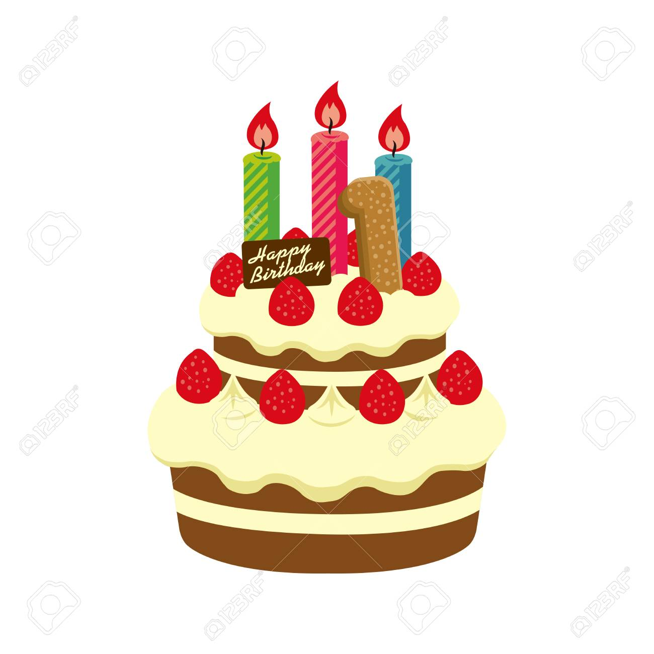 Birthday Cake Illustration For 1 Year Old Stock Vector