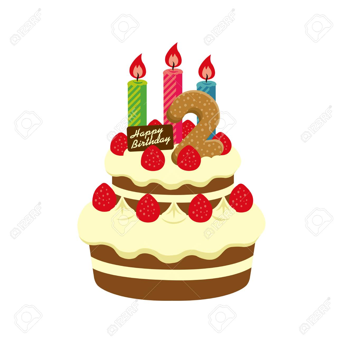 Brilliant Birthday Cake Illustration For 2 Years Old Royalty Free Cliparts Funny Birthday Cards Online Elaedamsfinfo