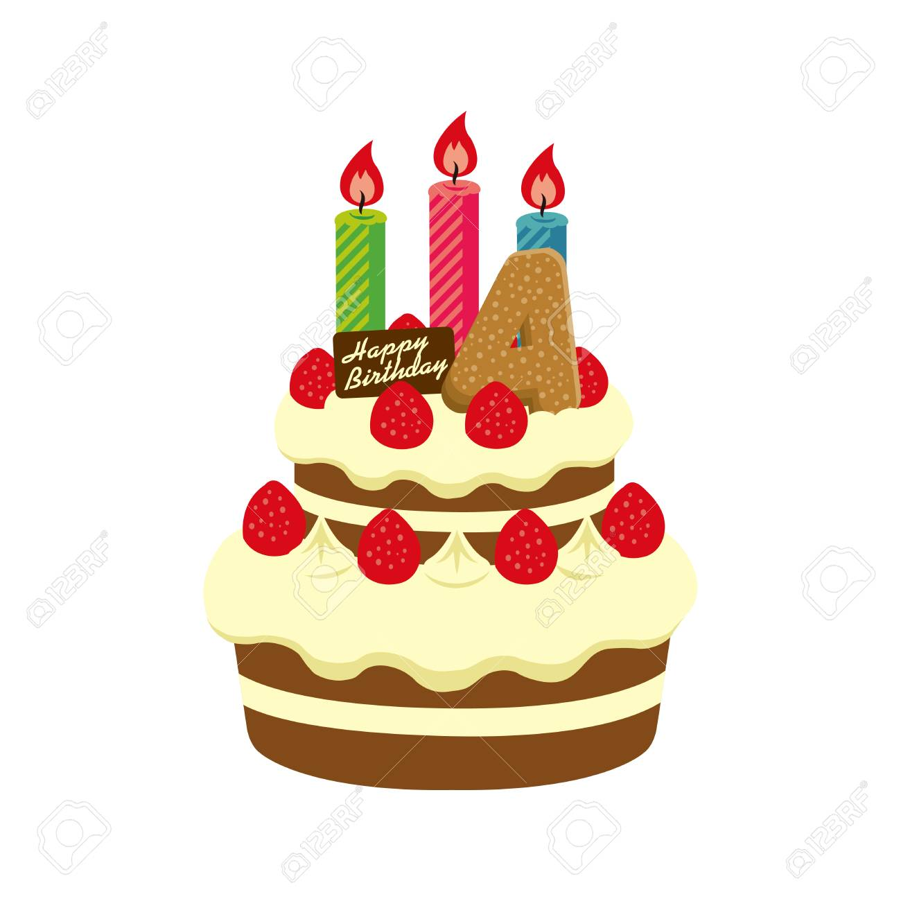 Strange Birthday Cake Illustration For 4 Years Old Royalty Free Cliparts Personalised Birthday Cards Veneteletsinfo