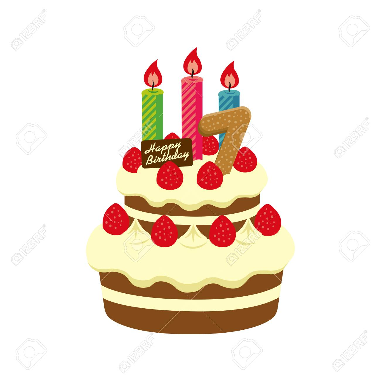 Astounding Birthday Cake Illustration For 7 Years Old Royalty Free Cliparts Funny Birthday Cards Online Alyptdamsfinfo