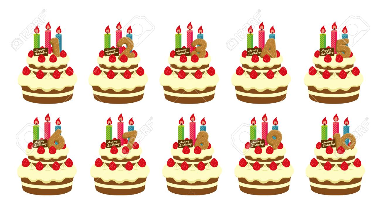 Surprising Birthday Cake Illustration Set For 1 10 Years Old Royalty Free Funny Birthday Cards Online Barepcheapnameinfo