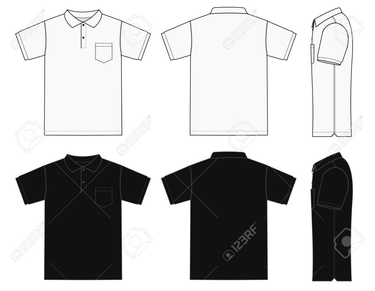 Polo Shirt (golf shirt) template Illustration (front/back/side) - 123848809