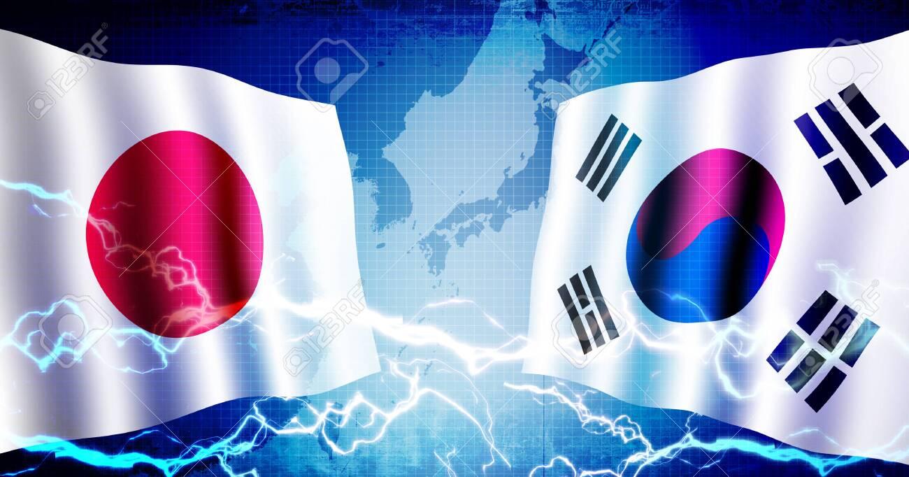 Political confrontation between Japan and South korea / web banner background illustration - 128051488