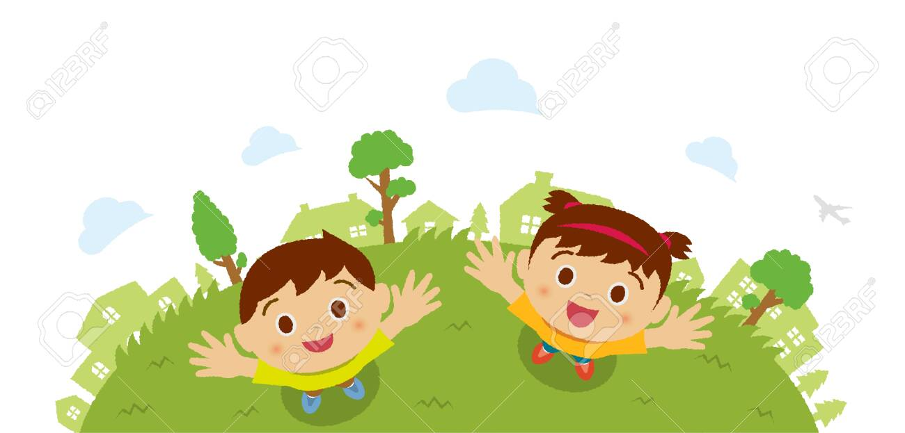 Kids (children / boy and girl) looking up into the sky (bird's eye view). Vector cartoon illustration. - 131513422