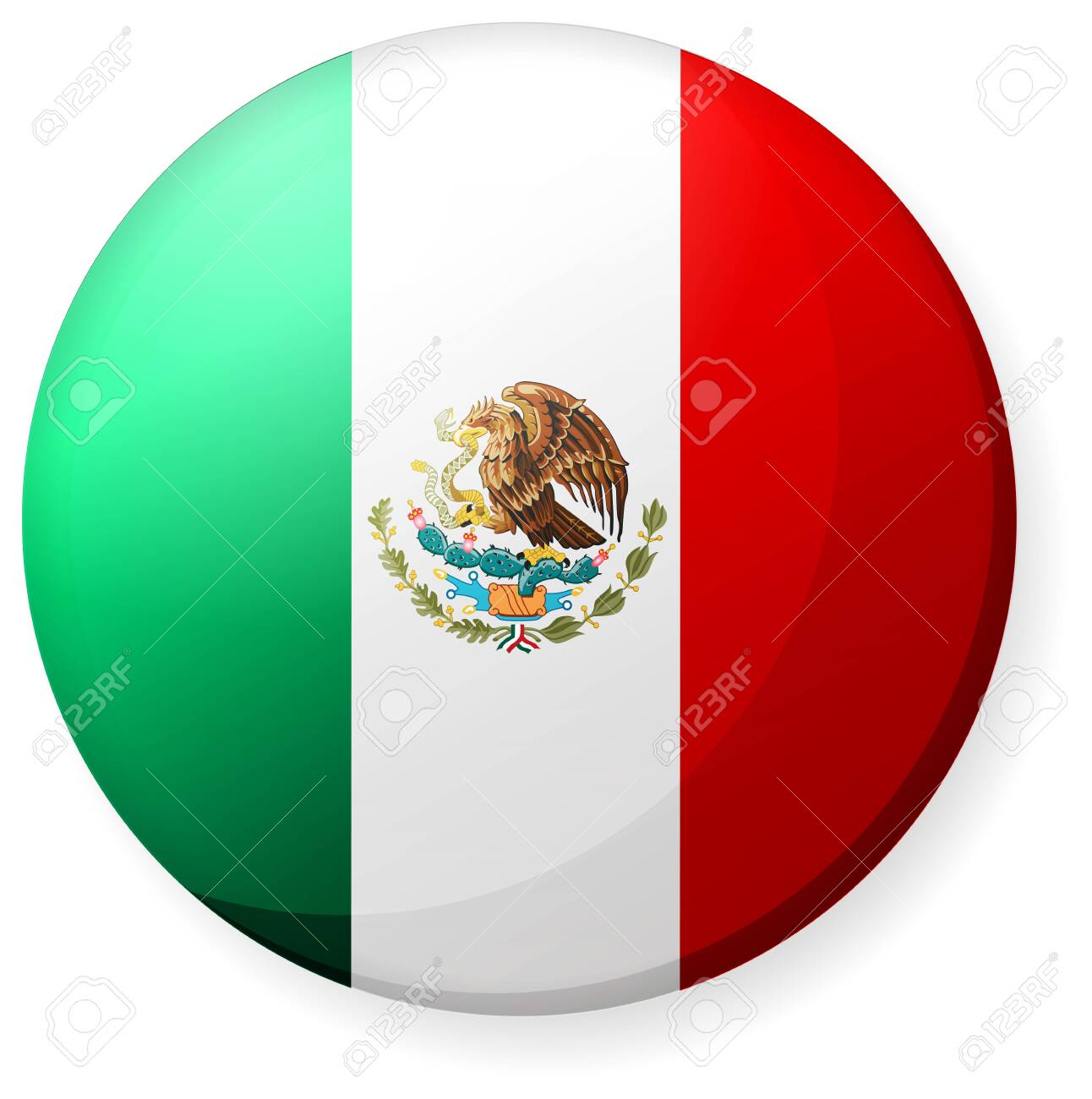 Circular country flag icon (button badge ) / Mexico - 134657701