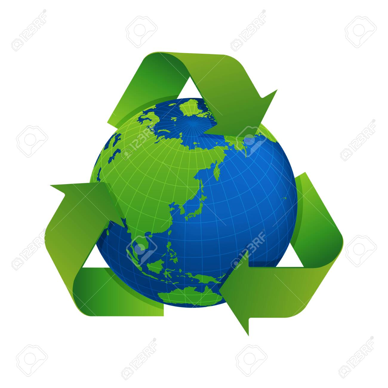 3 arrows around earth vector illustration ( recycle, ecology ) - 139364303