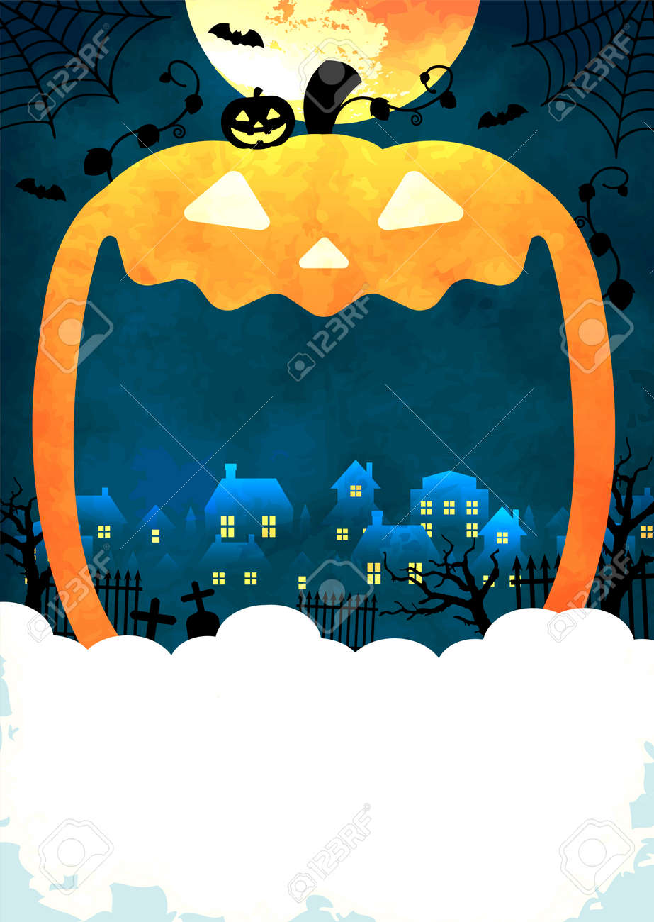Halloween background vector illustration. Poster (flyer) template design (text space) - 168885077