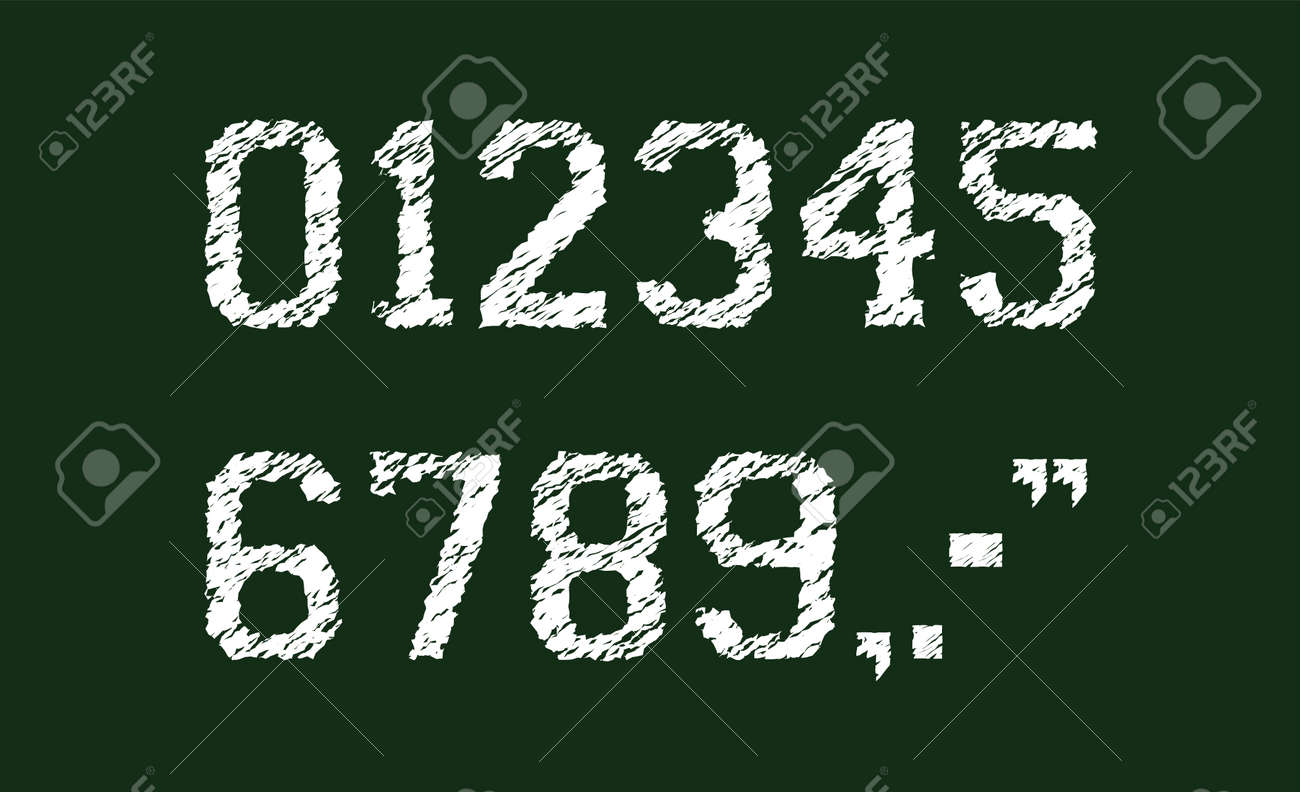 Chalked vector grunge numbers illustration set. - 169249180
