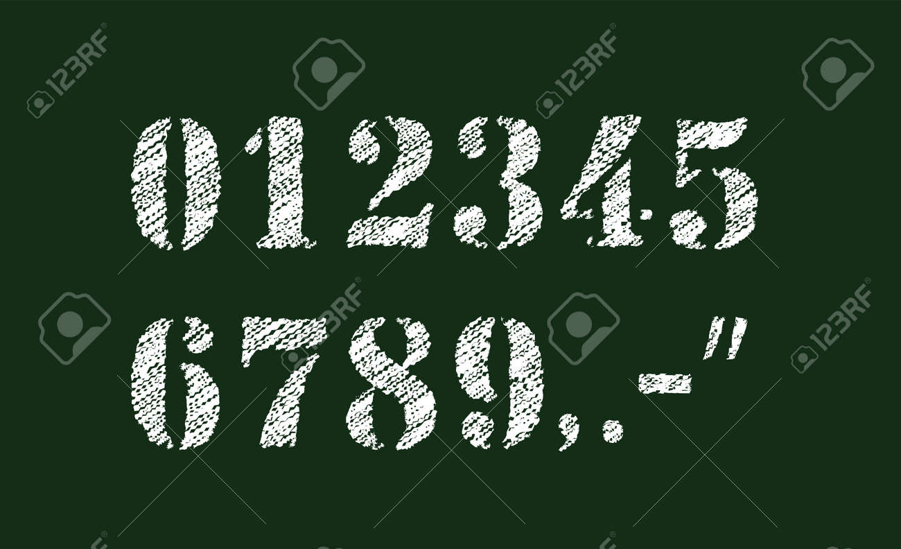 Chalked vector grunge numbers illustration set. - 169249253