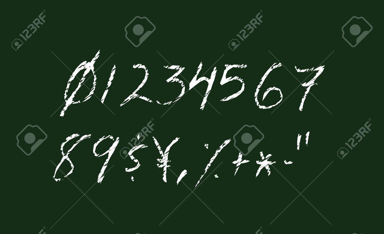 Chalked vector grunge numbers illustration set. - 169249332