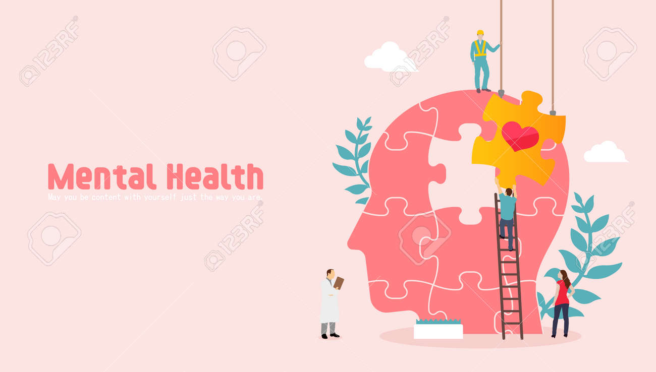 Mental health concept vector banner illustration - 169249469