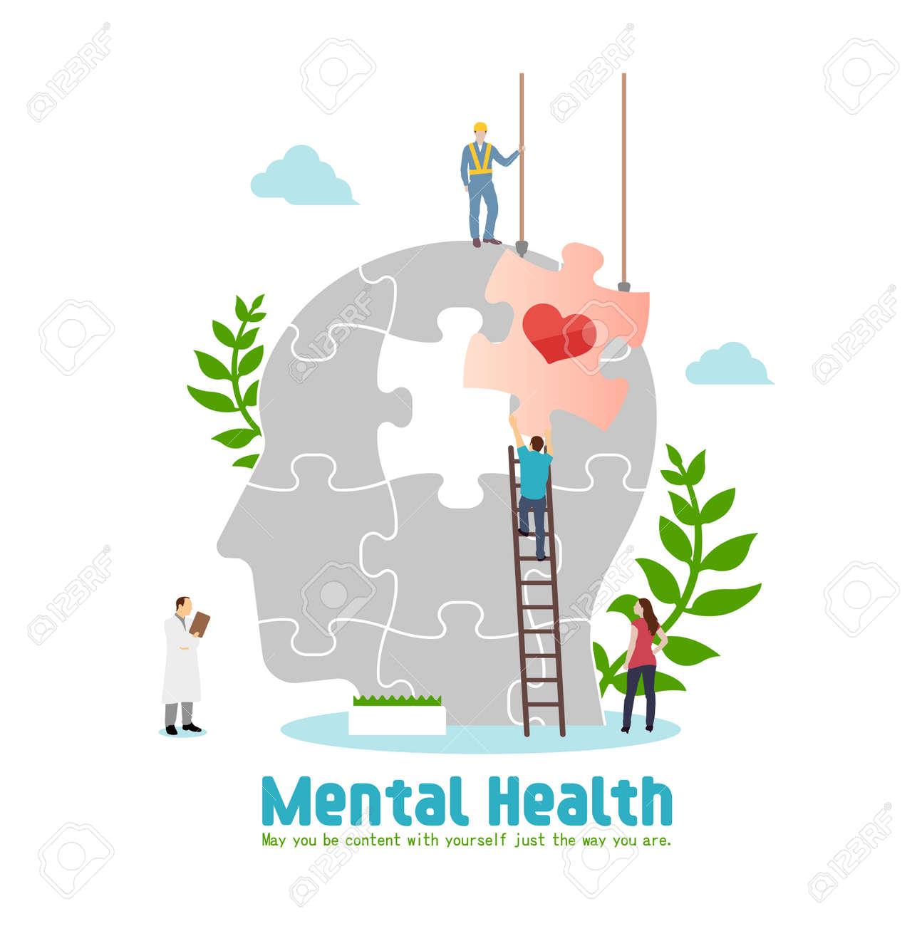 Mental health concept flat vector illustration - 169249490