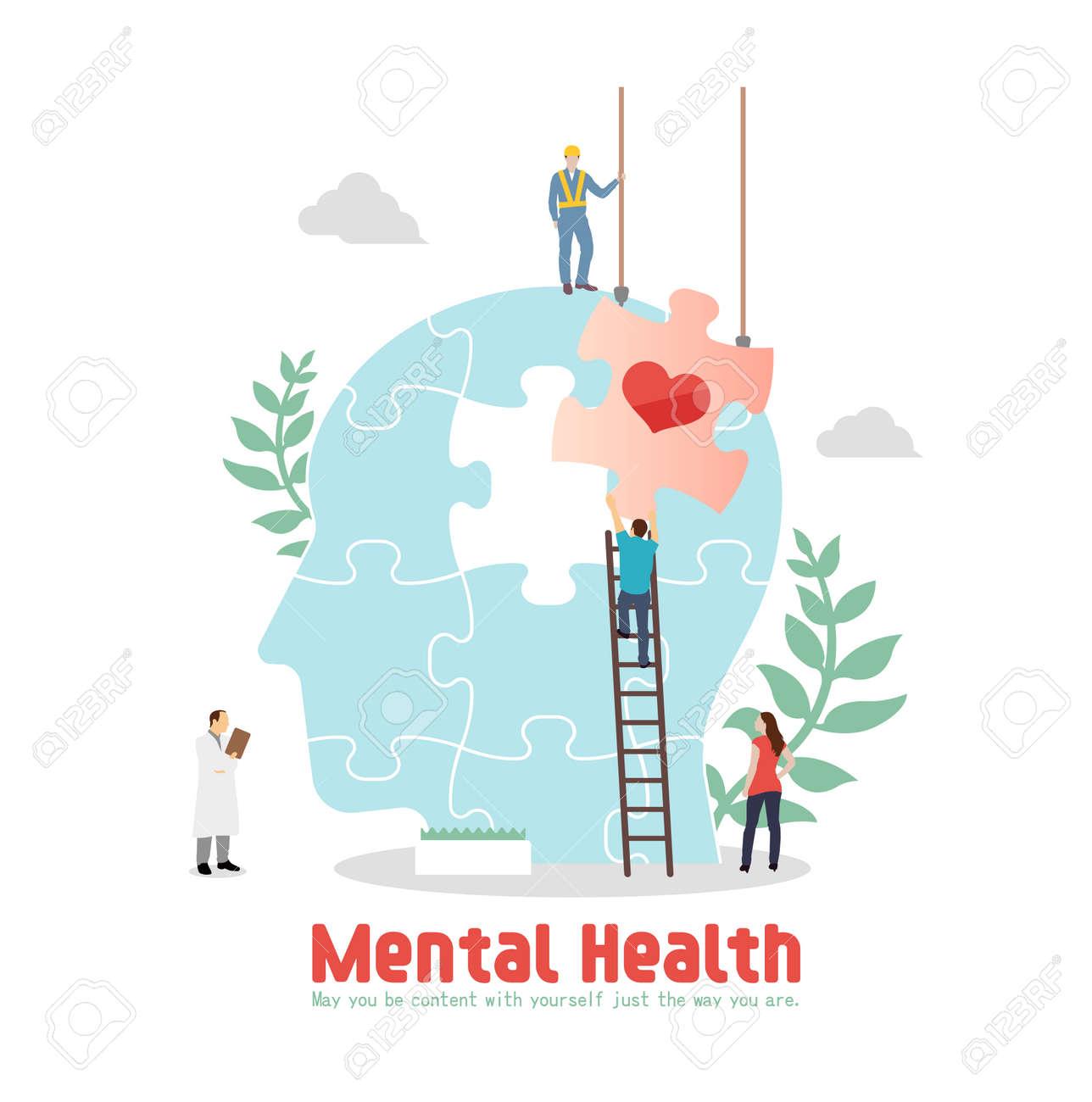 Mental health concept flat vector illustration - 169249491