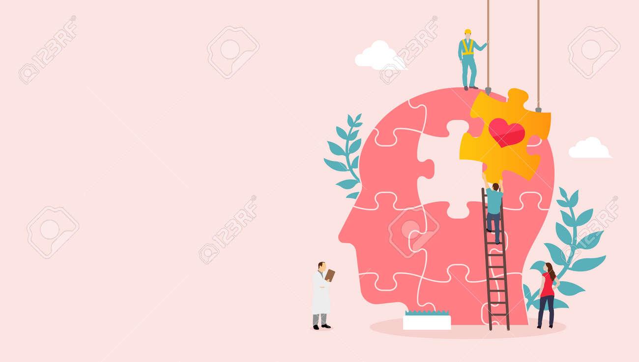Mental health concept vector banner illustration - 169249492