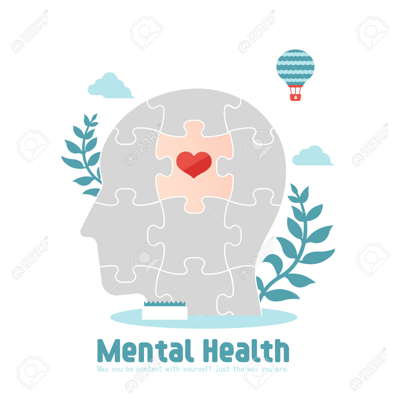 Mental health concept flat vector illustration - 169249614