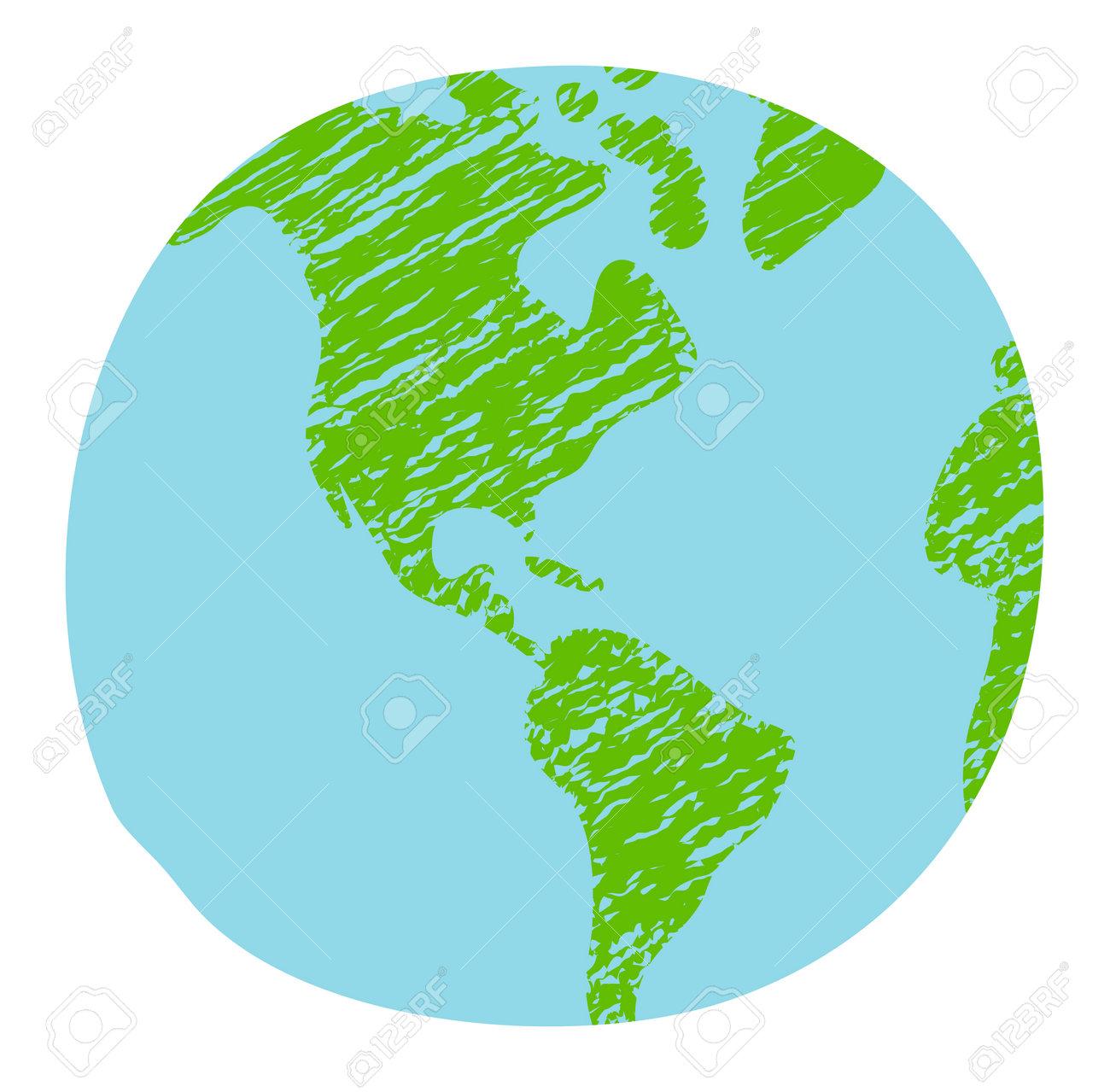 Chalked vector grunge earth (world map, globe) illustration - 169249615