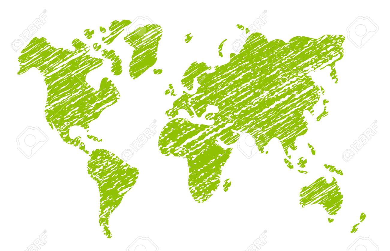 Chalked vector grunge world map illustration - 169249619