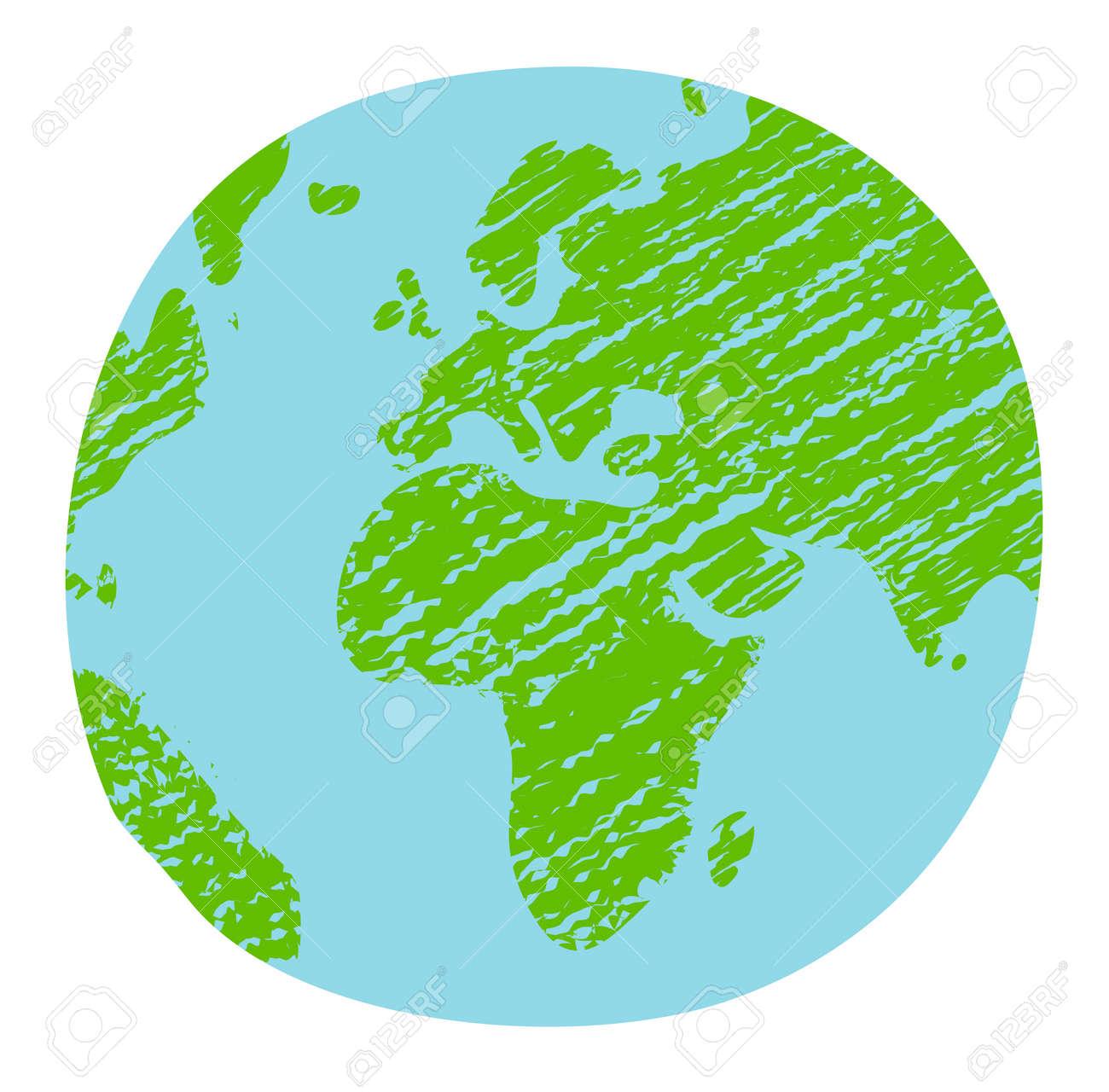 Chalked vector grunge earth (world map, globe) illustration - 169249620