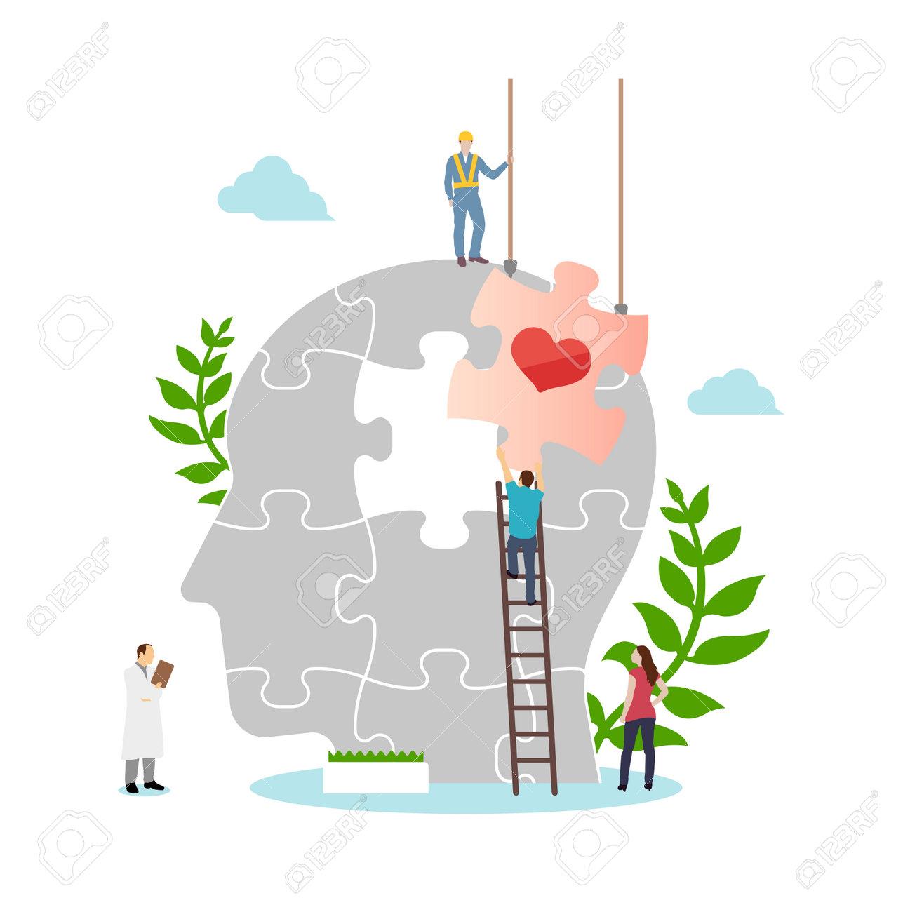 Mental health concept flat vector illustration - 169249624