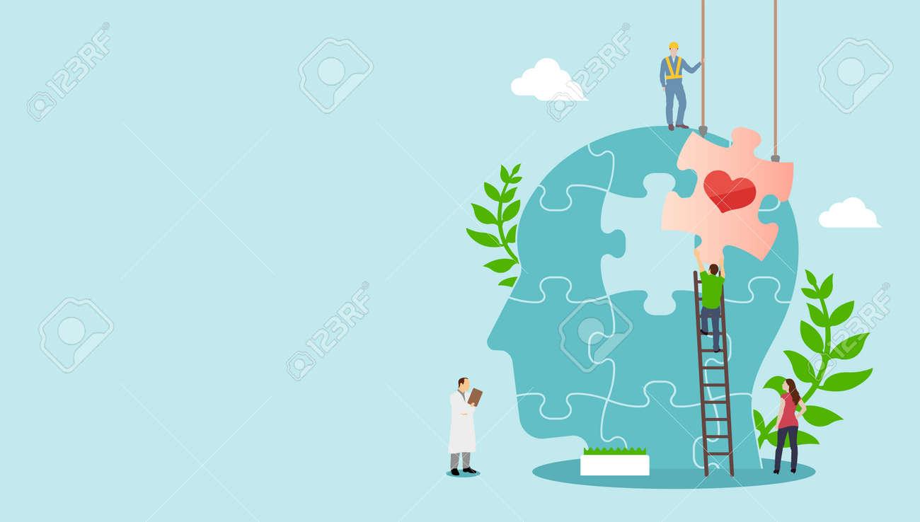 Mental health concept vector banner illustration - 169249712