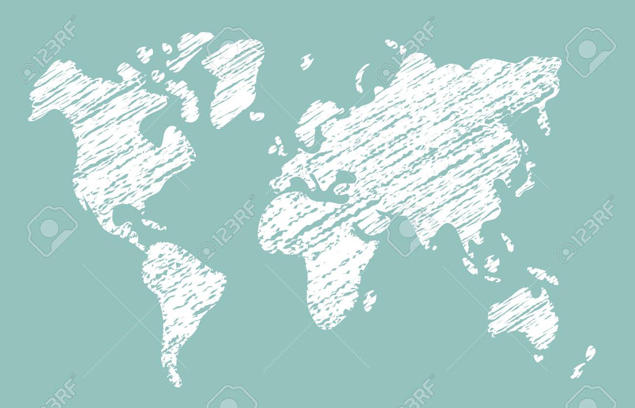 Chalked vector grunge world map illustration - 169249715