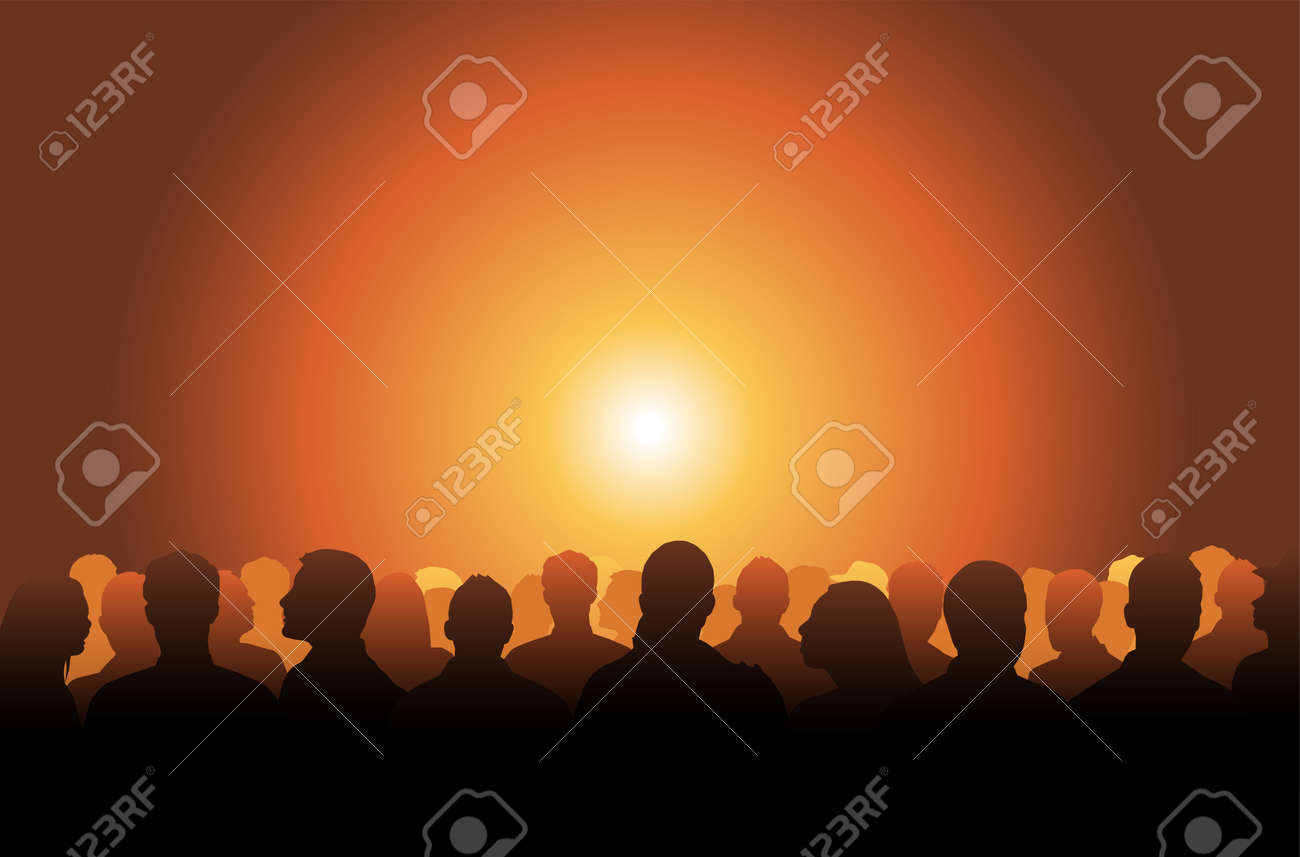 Silhouetted crowd ( audience, fans ) looks black by backlight. Vector banner illustration. - 173140065