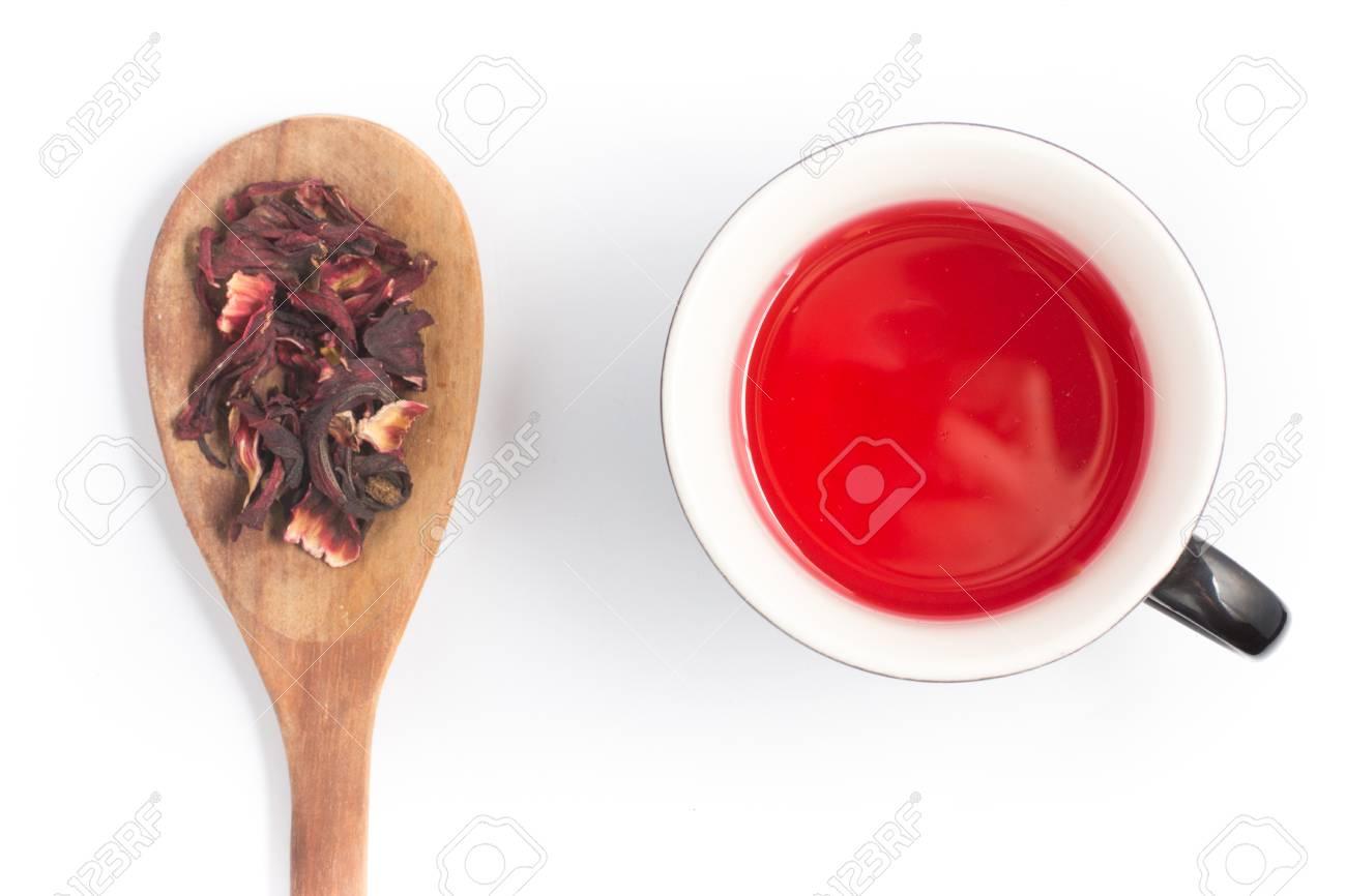 Hibiscus Flower Tea In White Background