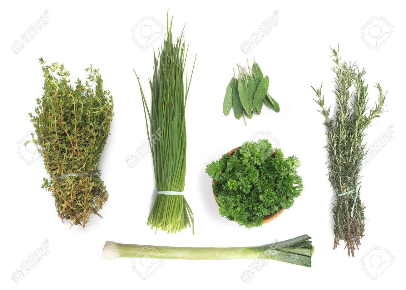 Types Of Fresh Herbs Rosemary Spring Onions Parsley Thyme