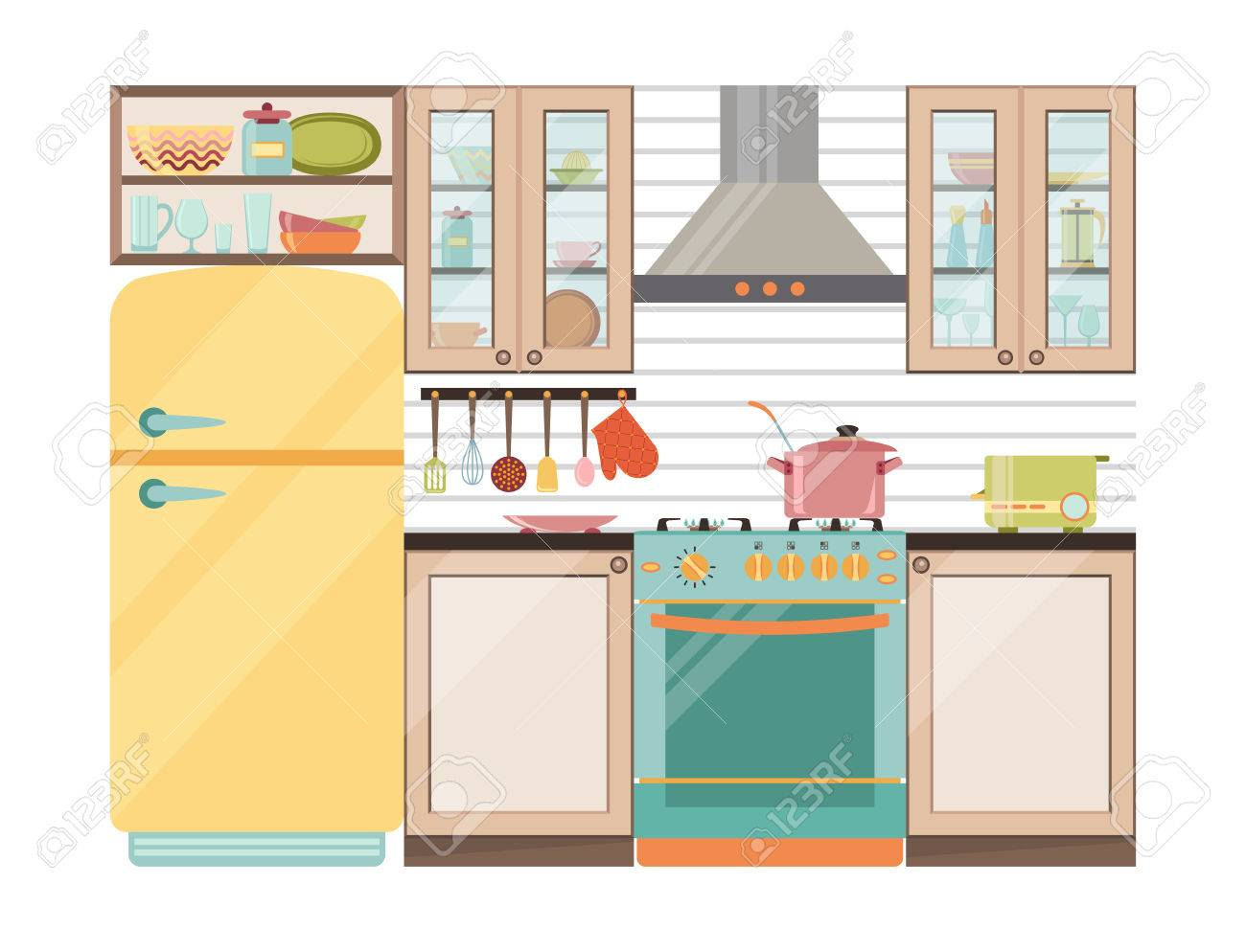 Küche Interieur. Küchengeräte Und Geschirr Im Retro-Stil Lizenzfrei ...