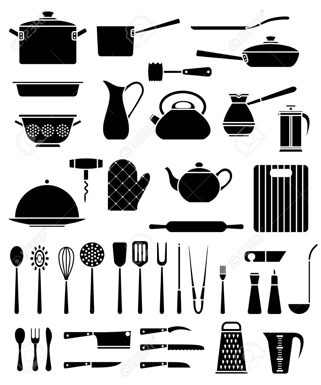 Kitchen tools drawing - Set Of Kitchen Utensil And Collection Of Cookware Icons Cooking Tools And Kitchenware Equipment Stock