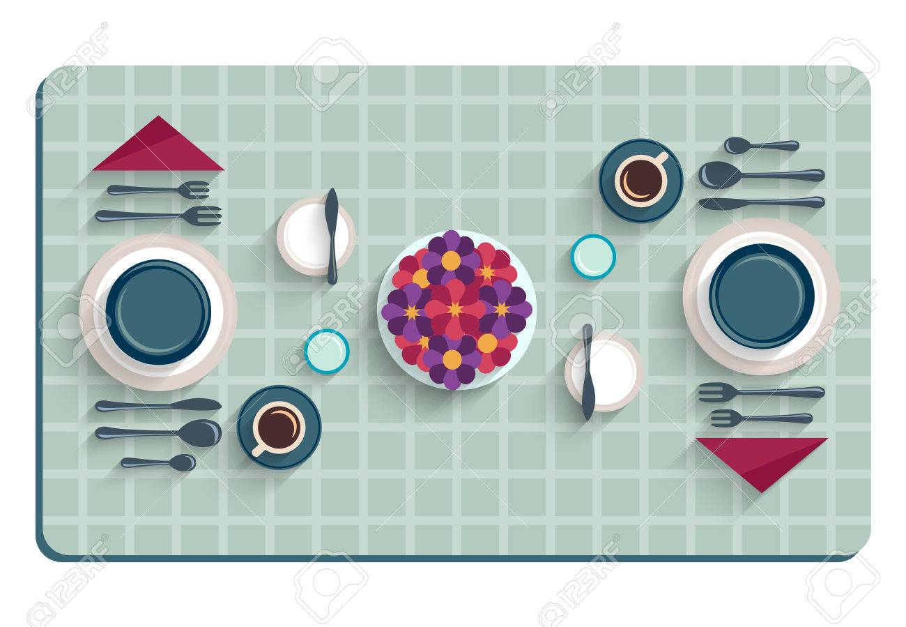 Table Setting For Breakfast Table Setting For Breakfast Top View Of Desk Background With