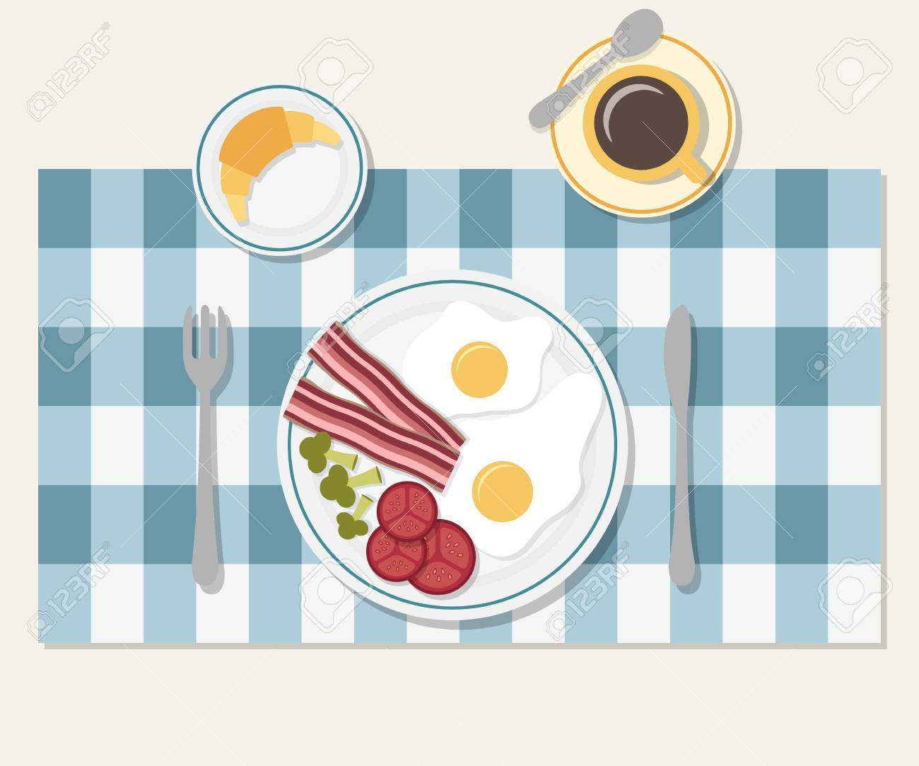 Table Setting For Breakfast Breakfast Table Setting Bacon And Vegetables Egg Coffee And