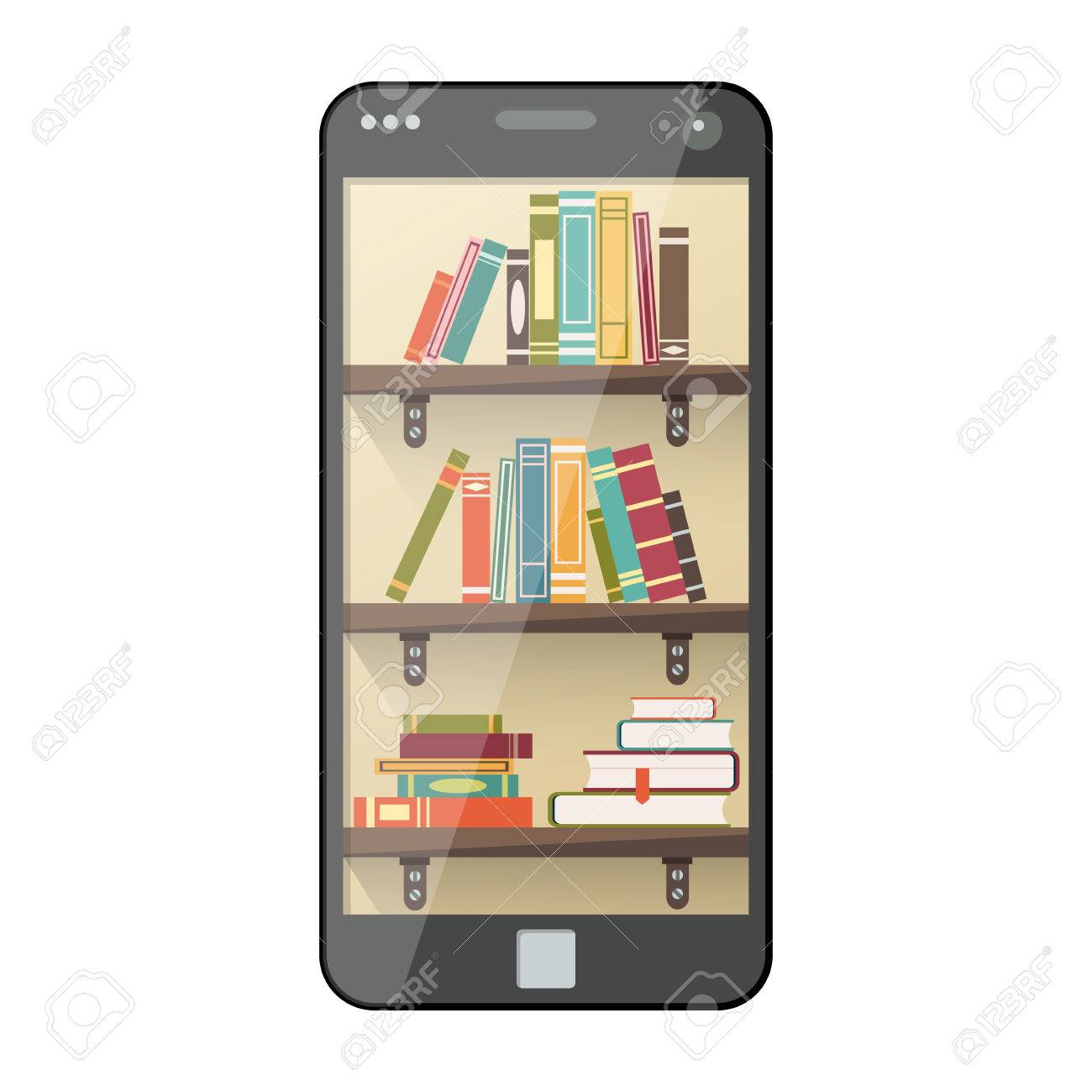 Online Mobile Library In Flat Style Digital Online Books On Shelf For  Internet Course