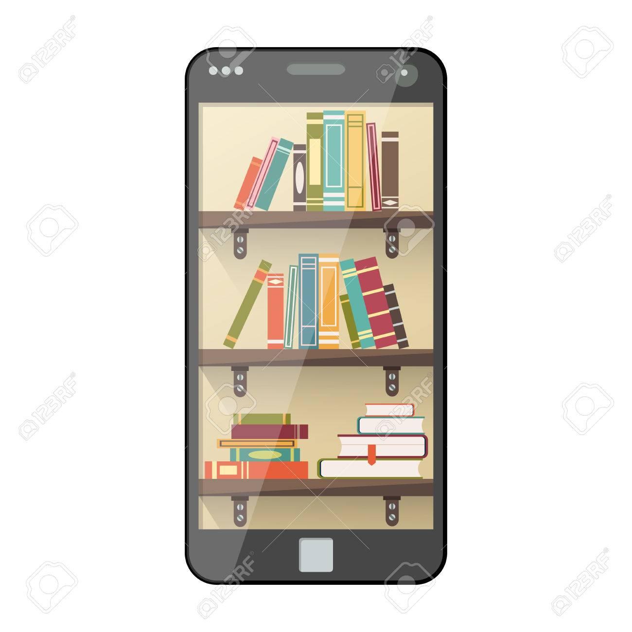 Mobile Online-Bibliothek In Flachen Stil. Digitale Online-Bücher Auf ...
