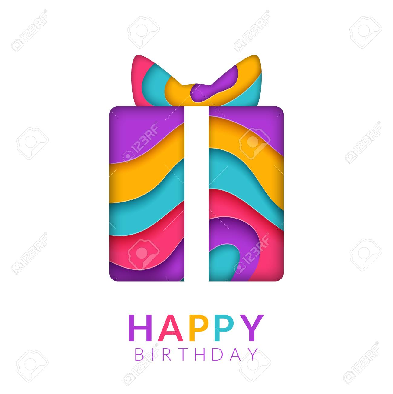Happy Birthday Greeting Card Template With Papercut Multi Color