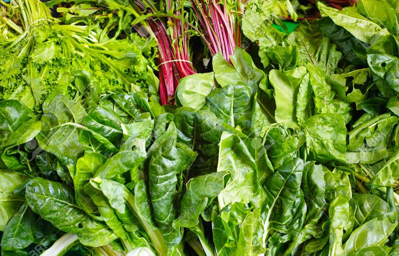 Market vegetables - variety of green salades - 55964526
