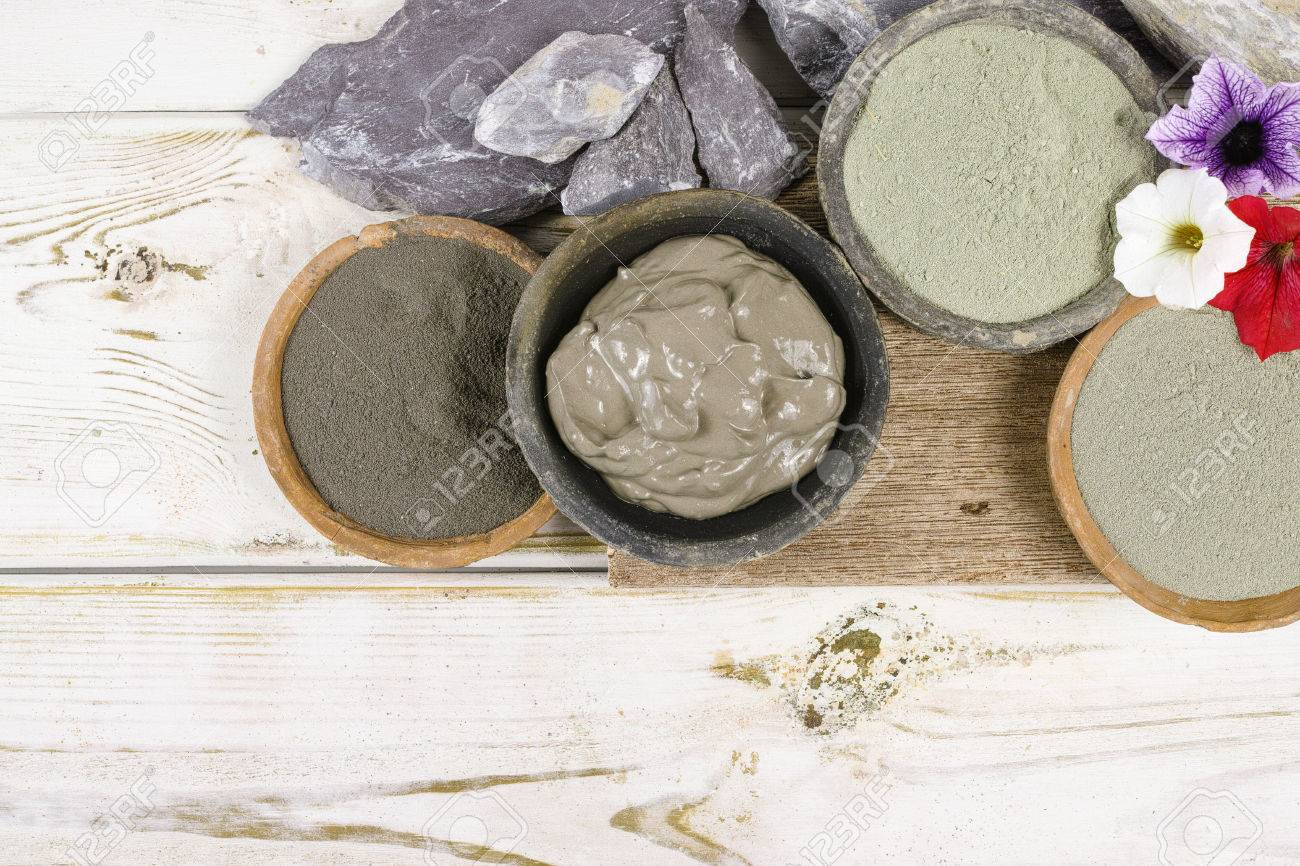 Ancient minerals - green and blue clay powder and mud mask for spa, beauty concept - 65815564