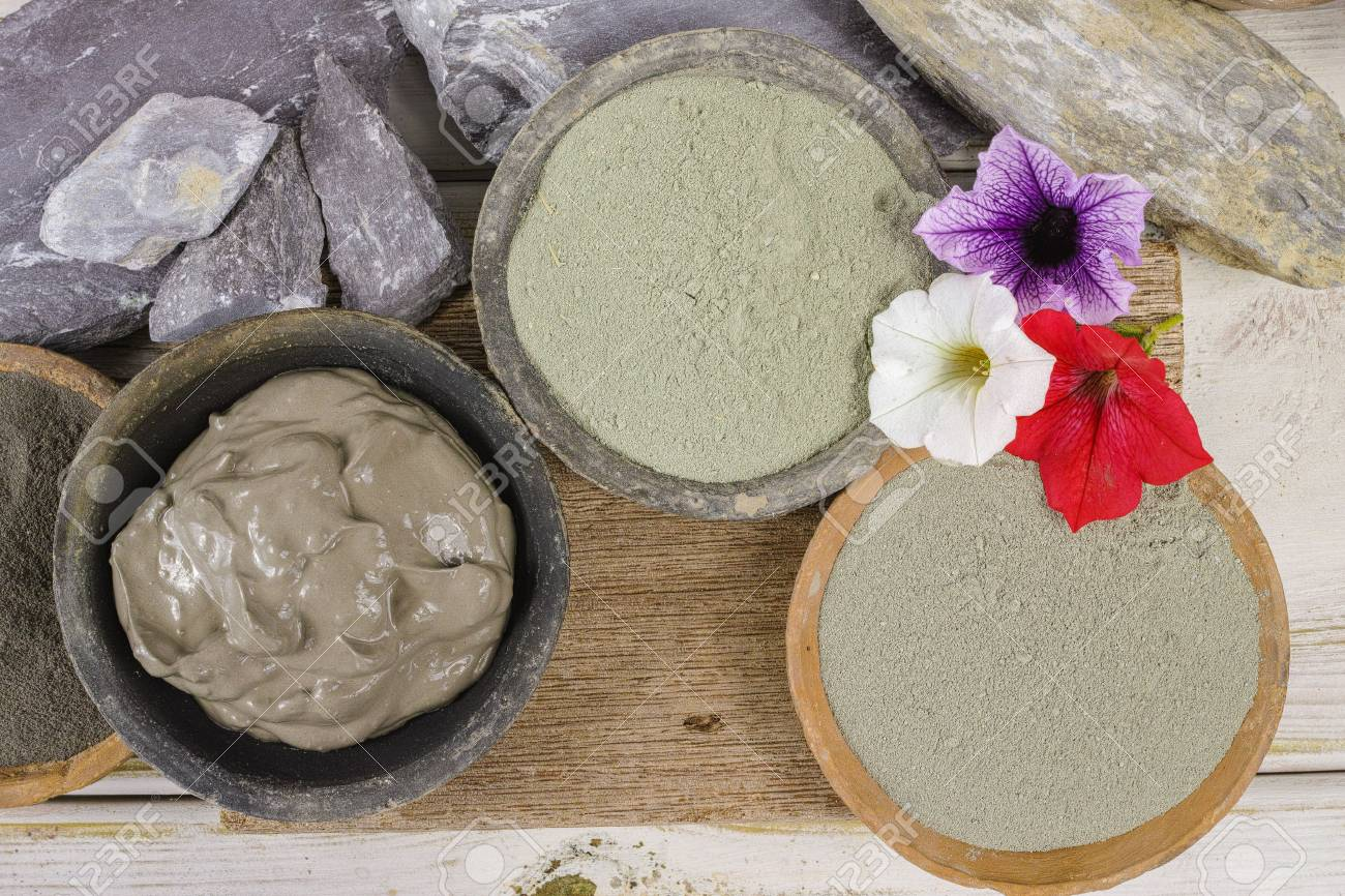 Ancient minerals - green and blue clay powder and mud mask for spa, beauty concept - 66320076