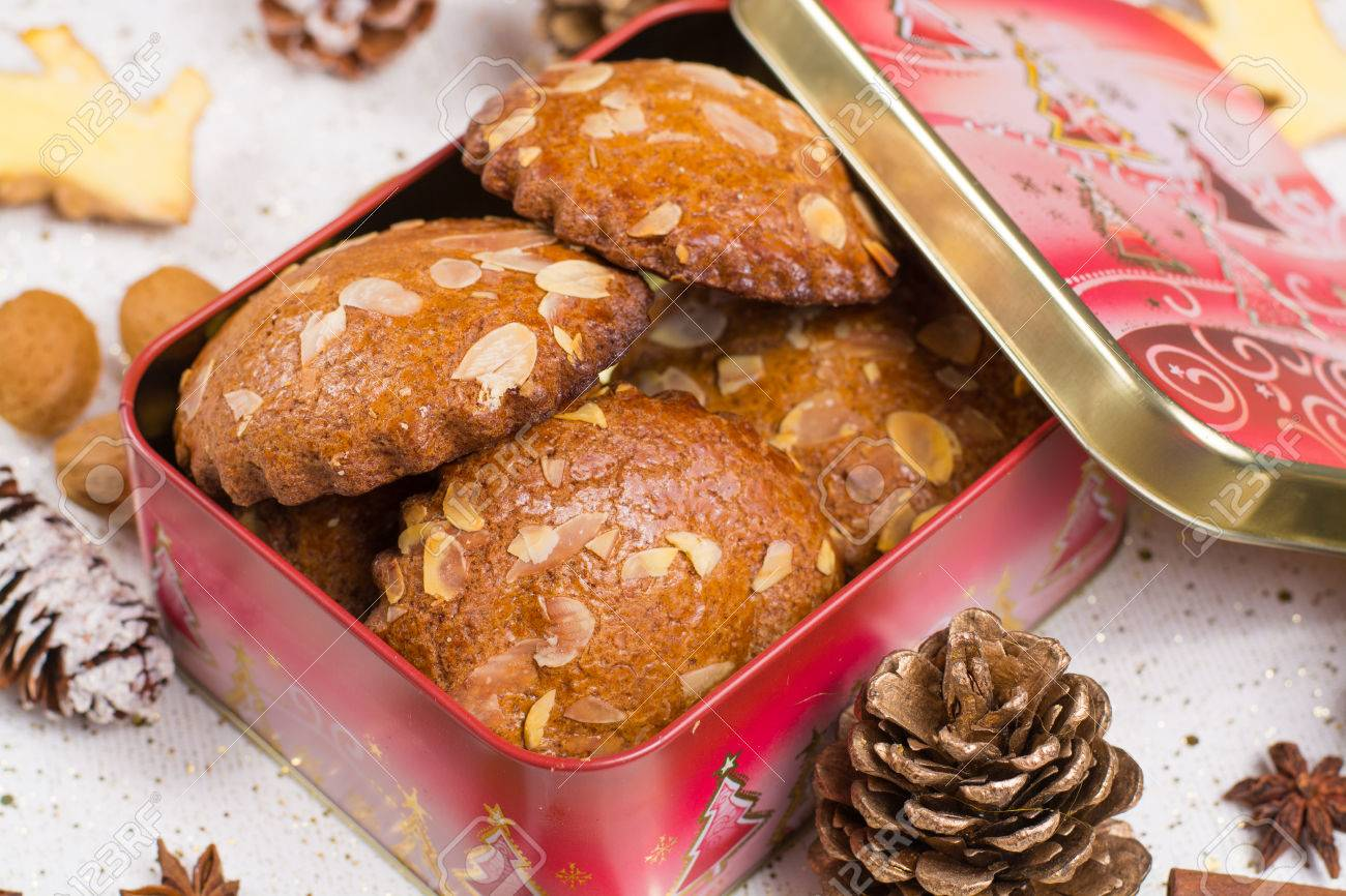 Christmas Cookies With Almond Nuts And Ginger In Tin Box Holiday