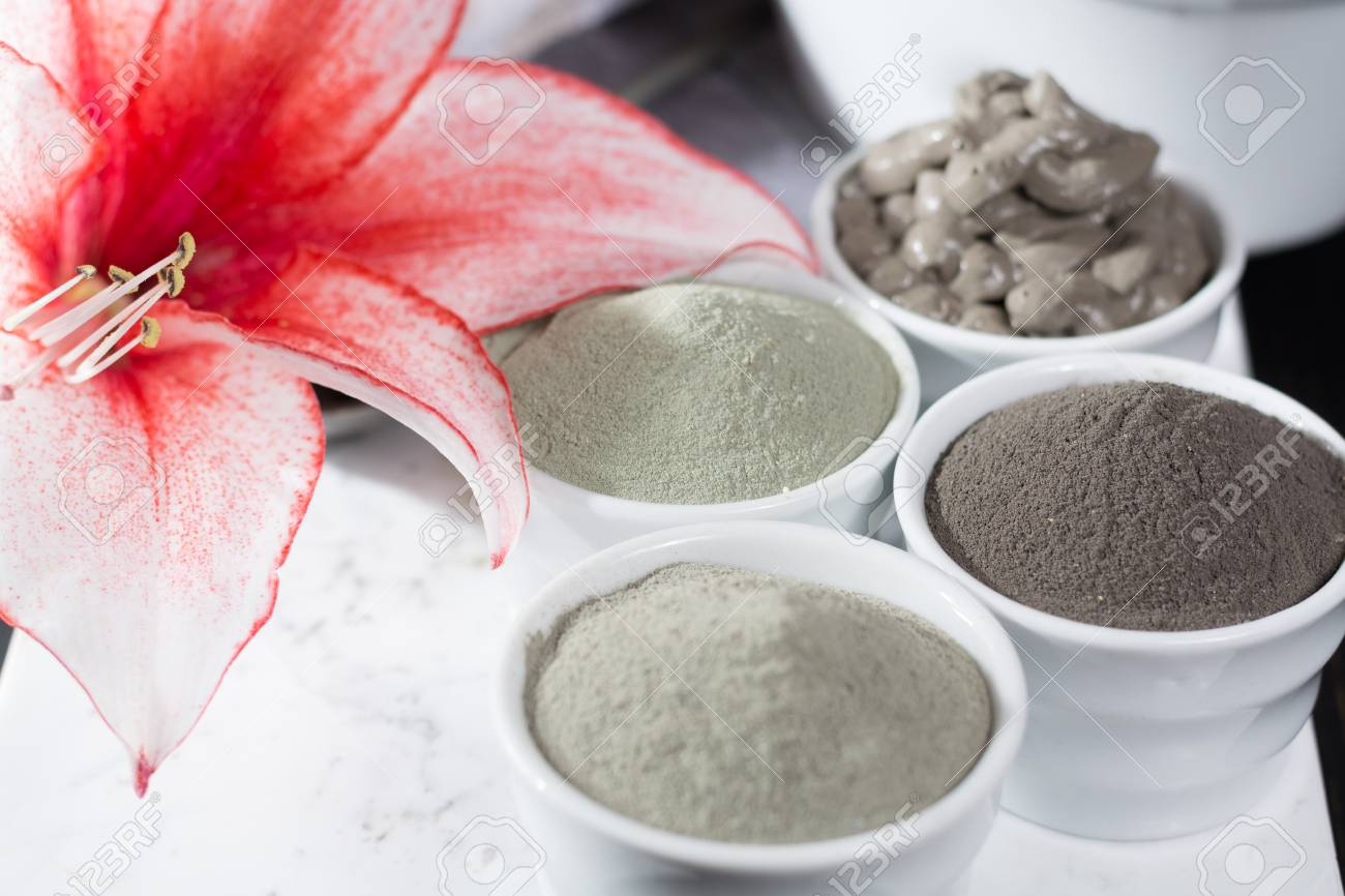 Ancient minerals - luxury face and body spa treatment, clay powder and mask , green, blue and black clay - 71062813