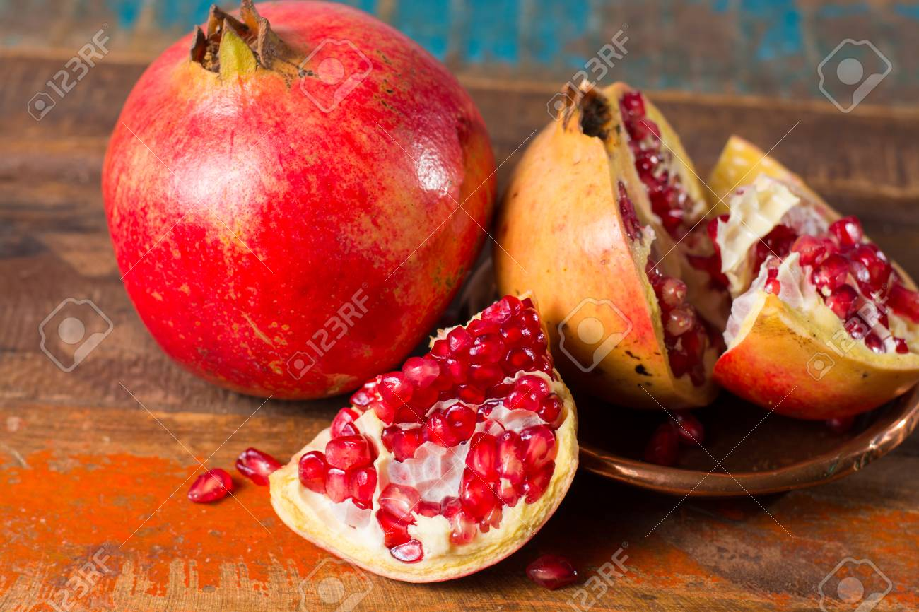healthy fruit red pomegranate rich of vitamin c also known stock