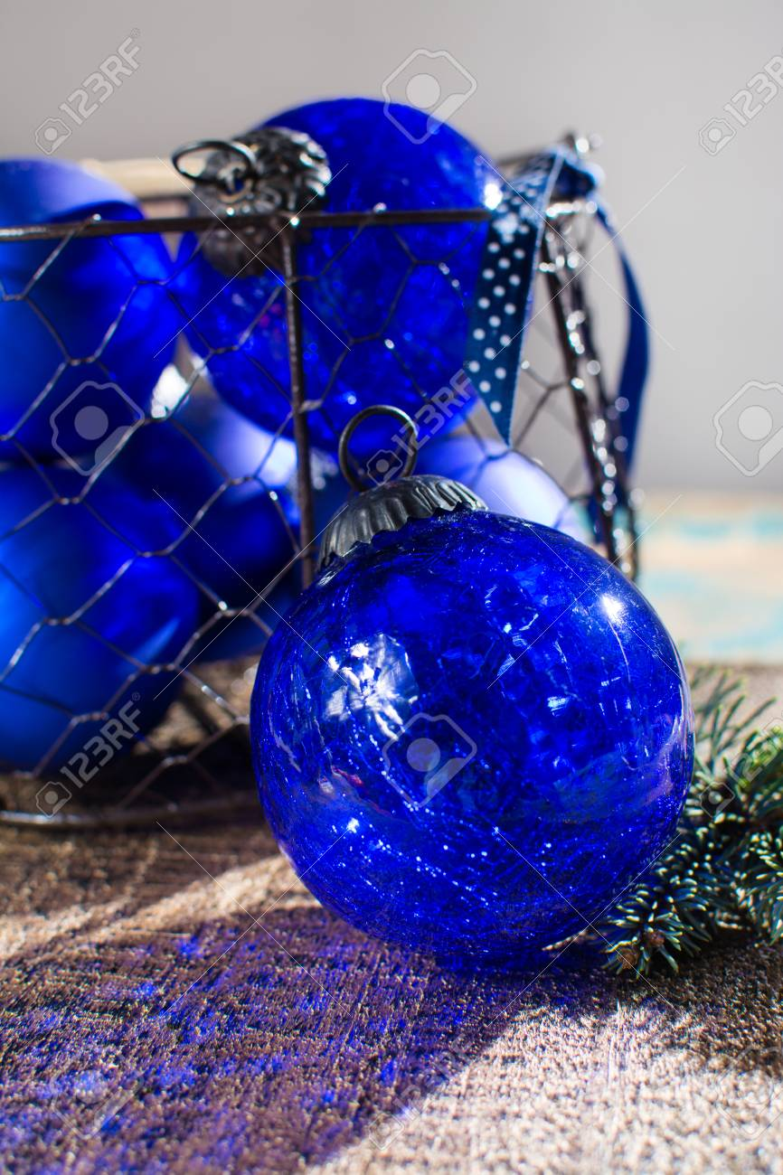 Old Vintage Cobalt Blue Christmas Tree Balls From Glass Close Stock Photo Picture And Royalty Free Image Image 90683370