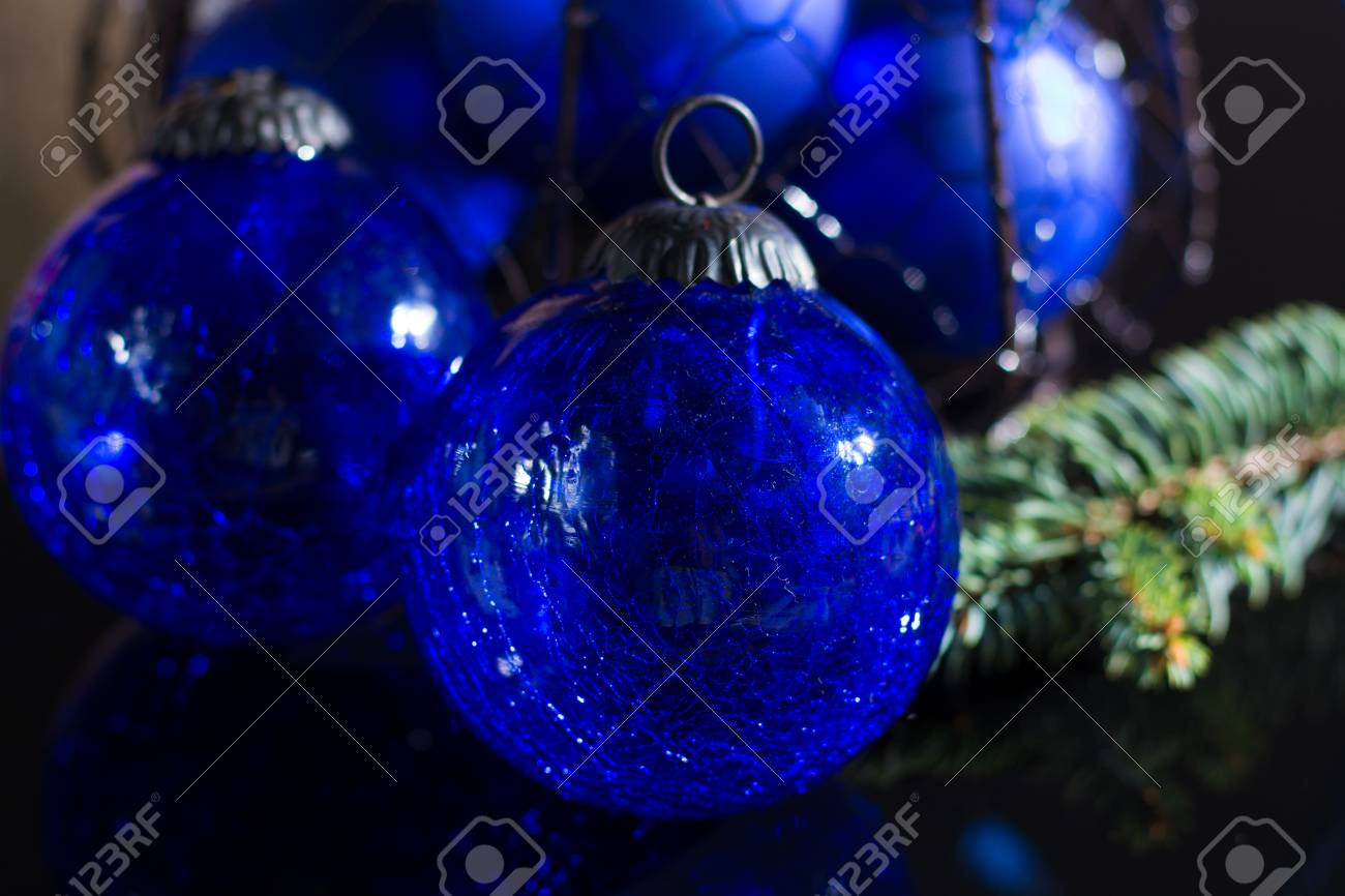 Old Vintage Cobalt Blue Christmas Tree Balls From Glass Close Stock Photo Picture And Royalty Free Image Image 90683986