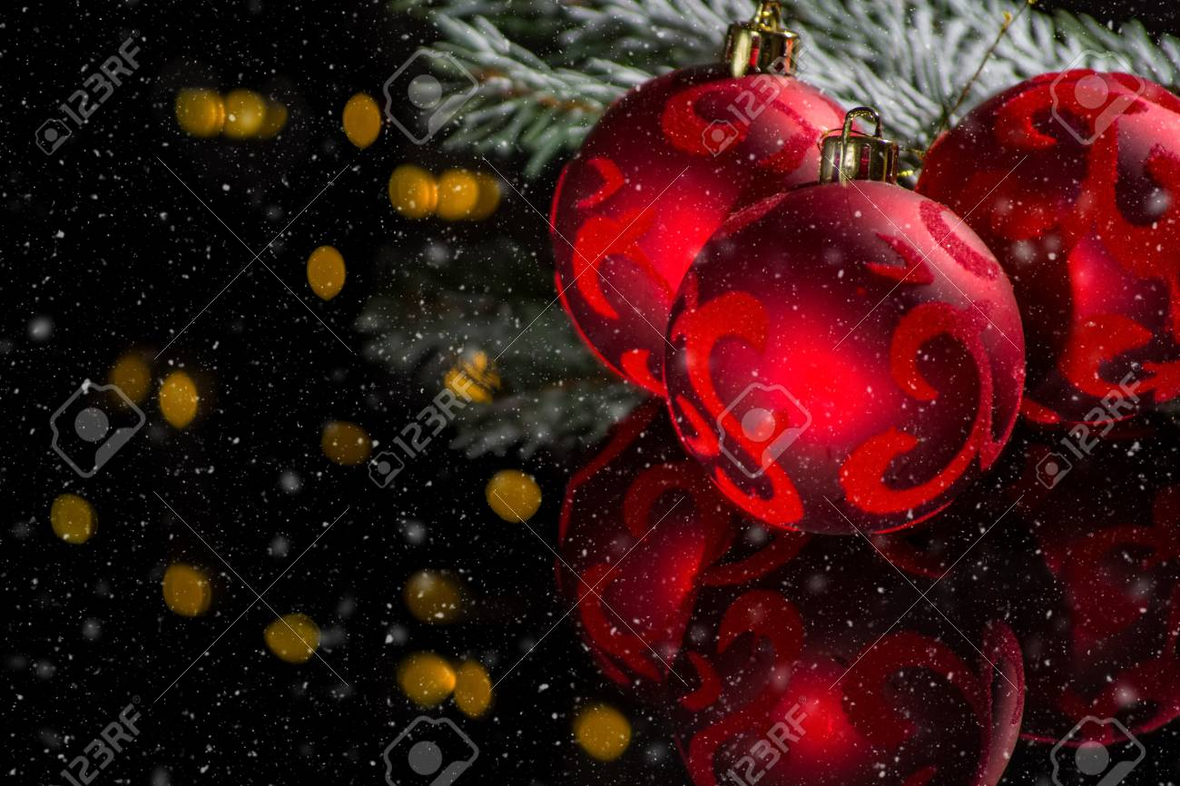 Red Christmas Tree Decoration Red Balls With Ornament And Green Stock Photo Picture And Royalty Free Image Image 91631506