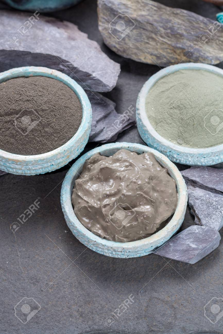 Ancient nature minerals, different types of clay used for skincare, spa treatments, face masks, gray, black, green and blue mud - 98073952