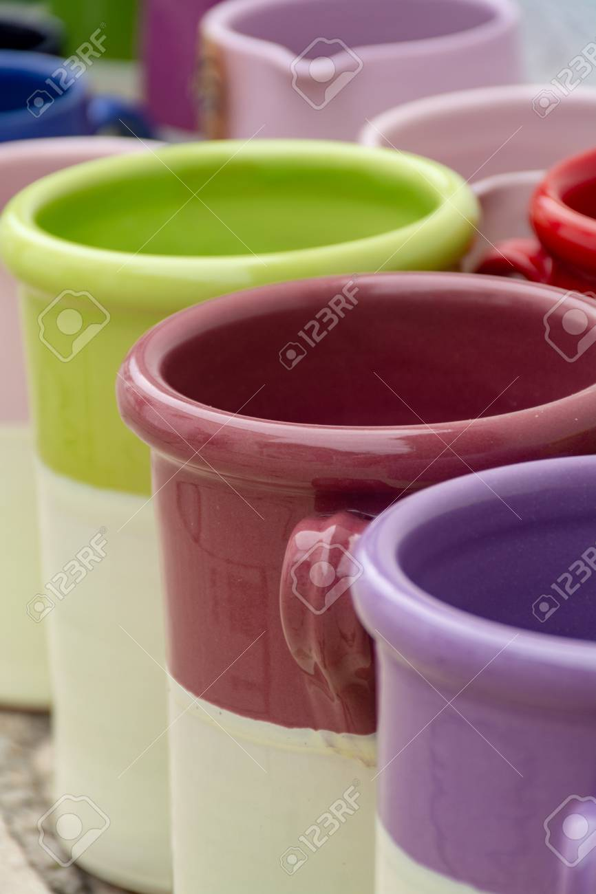 Rows with colorful glazed ceramic jars flower pots vases for sale Stock Photo - & Rows With Colorful Glazed Ceramic Jars Flower Pots Vases For ...